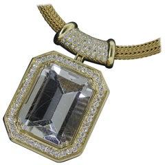 18 Karat Yellow Gold, Rutile Quartz '55.37 Carat', Diamond '4.18 Carat' Necklace