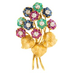 1950s Tiffany & Co. Gemstone Floral Bouquet Brooch in 18 Karat Yellow Gold