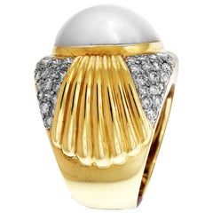 Button Pearl and Diamond Yellow Gold Ring