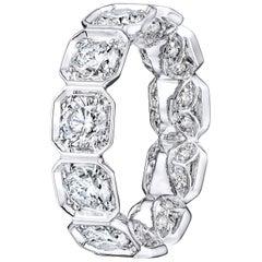 Bezel Set Octagonal Diamond Eternity Wedding Band 5.04 Carat