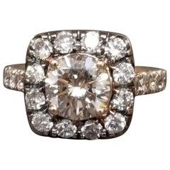 1.66 Carat Brown Diamond in Halo