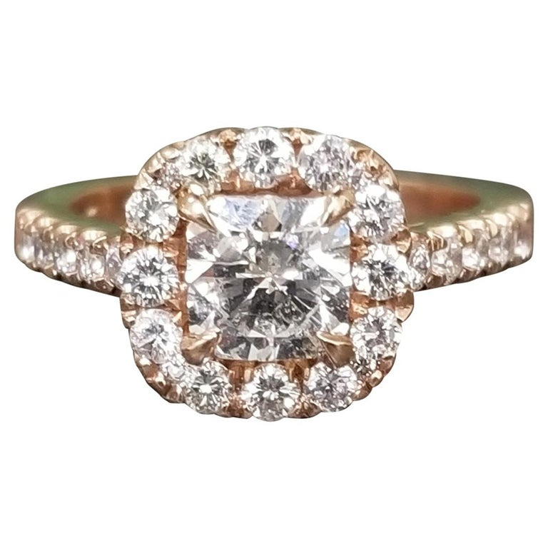 .97 Carat Radiant Diamond in Halo Ring For Sale