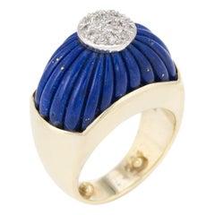 Vintage Fluted Lapis Lazuli Diamond Ring 14 Karat Gold Domed Estate Jewelry