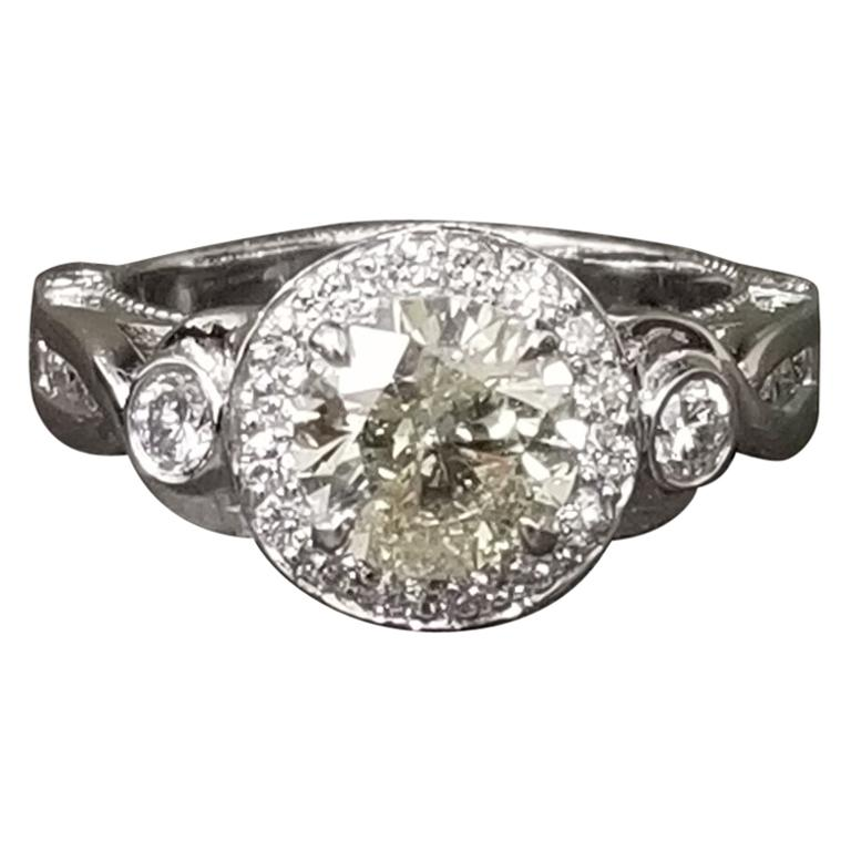 10034dcfd 1.38 Carat Brilliant Cut Yellow Diamond Ring For Sale. 14k white gold ...