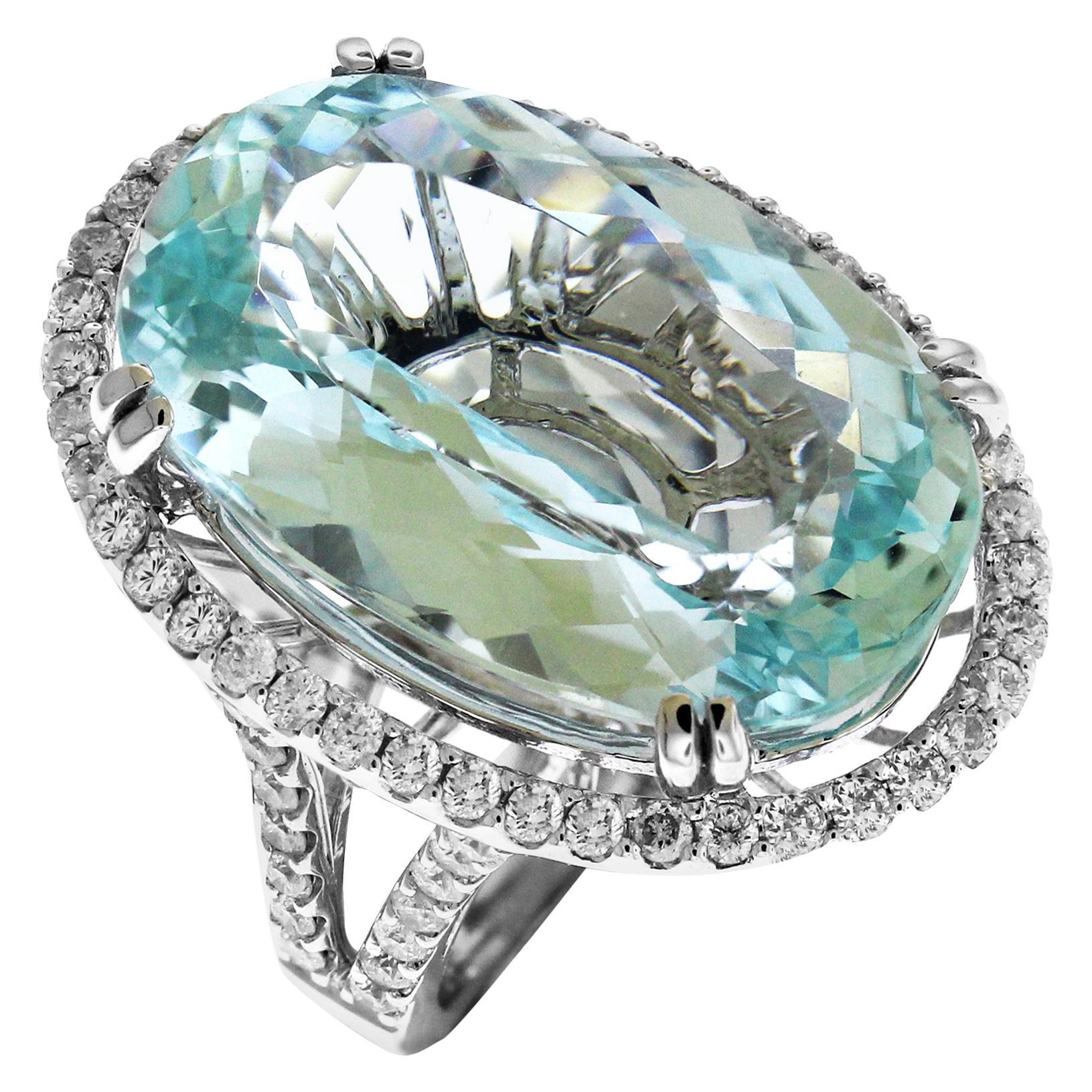 Aquamarine and Diamond White Gold Ring