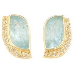 Vintage Aquamarine Diamond Earrings 18 Karat Gold Statement Estate Jewelry