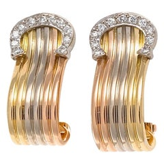 C De Cartier Diamond Gold Earrings