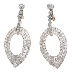 Diamond Platinum Feather Drop Earrings