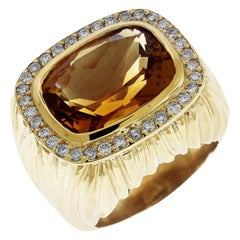 Citrine and Diamond Yellow Gold Ring
