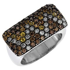 Multicolor Diamond and White Gold Rectangle Top Ring