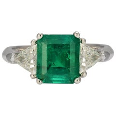1.95 Carat Emerald Three-Stone Cocktail Ring