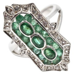 Emerald White Sapphire Sterling Silver Ring