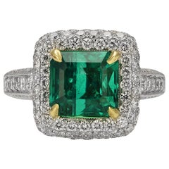3.13 Carat Colombian Emerald Cocktail Ring