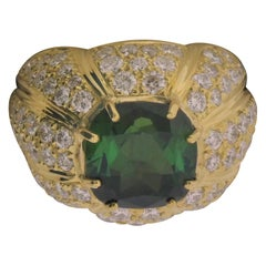 18 Karat Yellow Gold, Tourmaline '3.30 Carat', Diamond '2.44 Carat' Ring