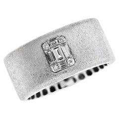 White Gold Matte Brushed Finish and Baguette Diamond Band Ring