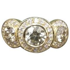 3-Stone Diamond Halo Ring