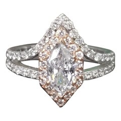 .84pt. 6 Sided Fancy Marquise Cut Diamond in Halo