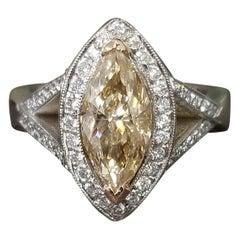 1.75 Carat Yellow Brown Treated Marquise Diamond in Split Shank Halo