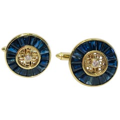 Elegant Handmade 7.5 Carat Sapphire and Diamond 18 Karat Yellow Gold Cufflinks
