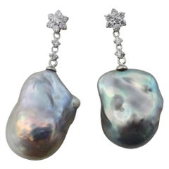 Michael Kneebone Baroque Rainbow Pearl Diamond Dangle Earrings