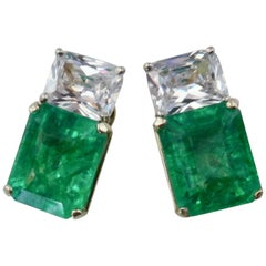 Michael Kneebone African Emerald White Sapphire Earrings