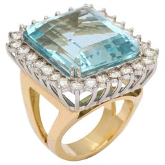 Large Fine Aquamarine and Diamond Ring or Pendant 18 Karat and Platinum