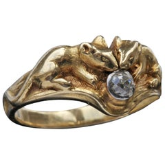 René Boivin Charming Gold and Diamond Mouse Ring