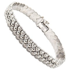 14 Karat White Gold Textured Bracelet