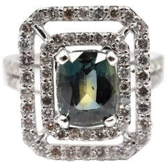 3.21 Carat Deniyaya Sapphire and Diamond 14 Karat White Gold Ring