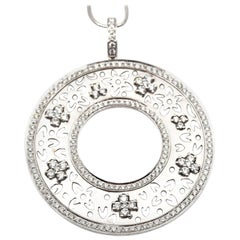 1.52 Carat Diamond Floral Pendant 14 Karat White Gold Necklace