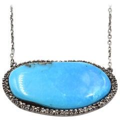 Castle Dome Turquoise & Black Diamond 14k Black Rhodium Gold Custom Necklace