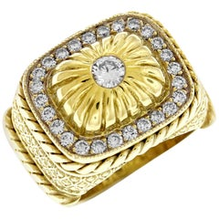 Stambolian Yellow Gold and Diamond Dome Ring