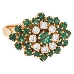 Vintage Emerald Diamond Cluster Ring 18 Karat Gold Flower Estate Fine Jewelry