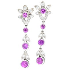 Tiffany & Co Legacy 2.20 CTW Pink Sapphire & Diamond Platinum Garland Earrings