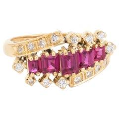 Vintage Ruby Diamond Band 18 Karat Gold Estate Fine Jewelry Anniversary Ring