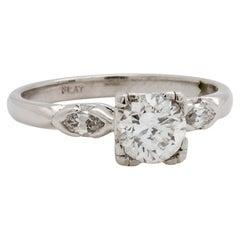 Vintage Platinum Engagement Ring 0.79 Carat Round Brilliant F-SI2, circa 1940s