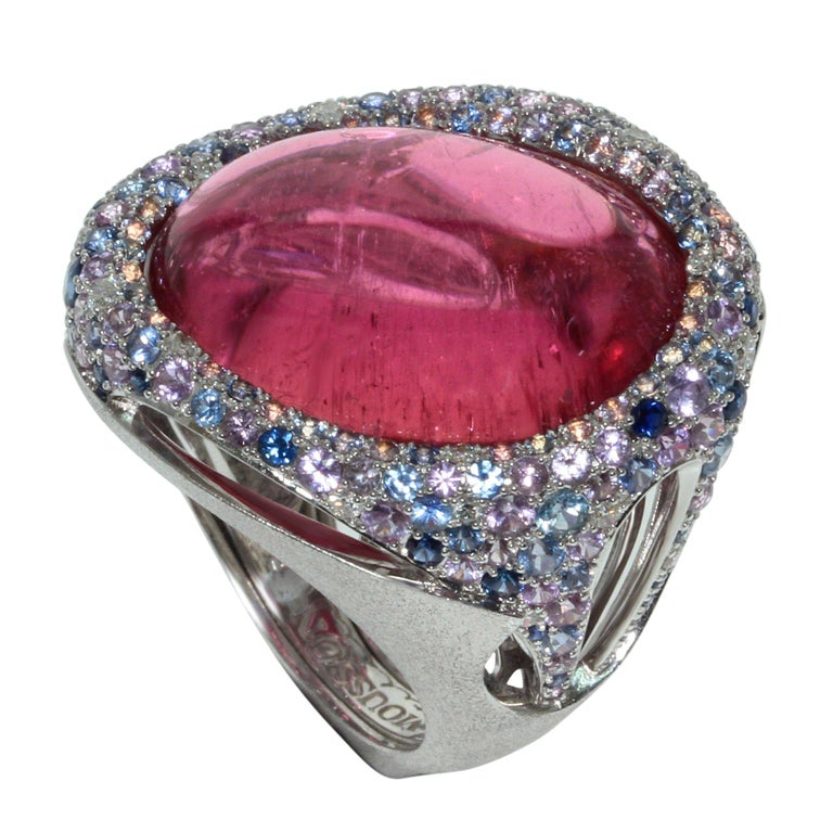 Rubellite 22.86 Carat Diamonds Sapphires 18 Karat White Gold Ring For Sale