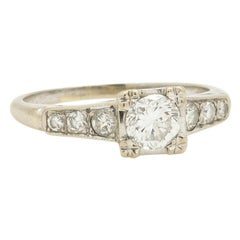 Vintage Diamond Engagement Ring 14 Karat White Gold 0.40 Carat, circa 1940s