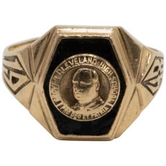 10 Karat Gold Onyx Inlay Cleveland 1948 High School Traditional Graduation Ring