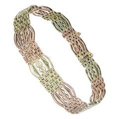 Rose Green Gold Gate Art Deco Link Bracelet