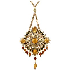 Antique French 12.85 Carat Citrine 3.49 Carat Diamond Enamel Gold Pendant