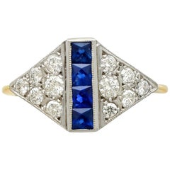 1970s Sapphire and Diamond Yellow Gold Cocktail Ring