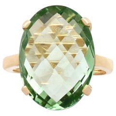 Vintage Italian 16.51 Carat Peridot and Yellow Gold Cocktail Ring