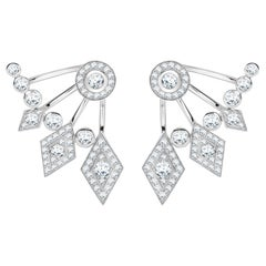 Garrard Twenty Four 18 Karat White Gold White Diamond Ear Climber Stud Earrings