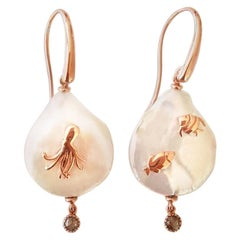 Pearl, Diamond and 18 Karat Rose Gold Sea Creature Earrings