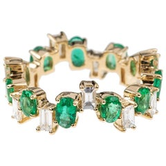 Nikos Koulis 18 Karat Yellow Gold Emerald White Diamond Band Ring
