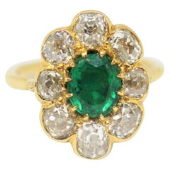 Emerald and Old Cut Diamond Cluster Ring, French, Late Victorian, circa 1890