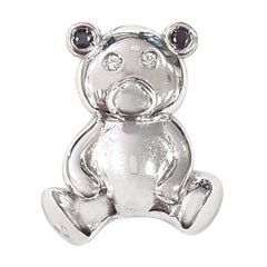 Teddy Bear Pendant in 18-Karat White Gold with Black and White Diamond