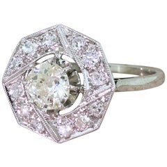 Art-Deco 0,79 Karat alte Schliff Diamanten, sechseckiger Cluster Ring