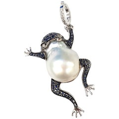 25.50 Carat Australian Pearl and Midnight Blue Sapphire Frog Pendant